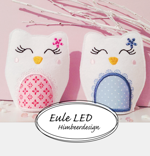 Eule Stickdatei LED 10x10