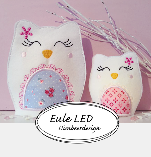 Eule Stickdatei SET 10x10 und 13x18 LED